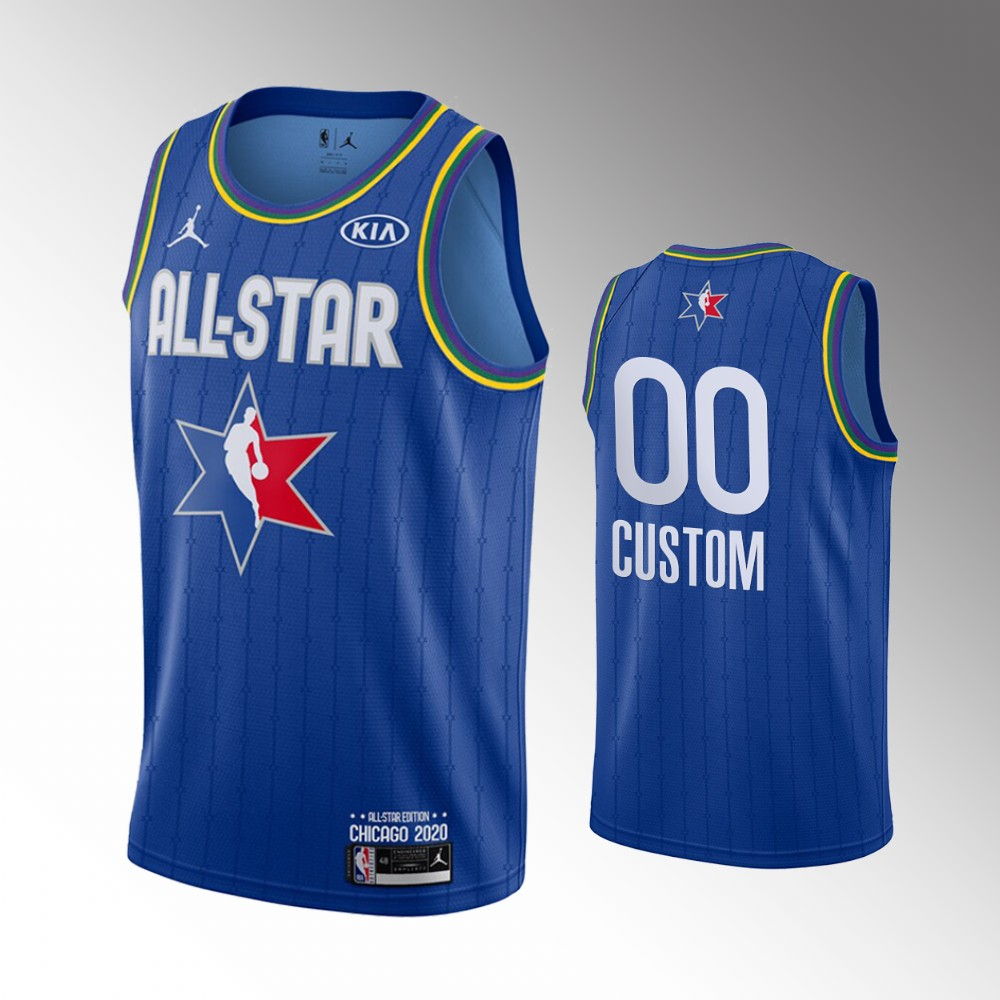 Men's 2020 NBA All-Star Game Custom Finished Jersey - Blue