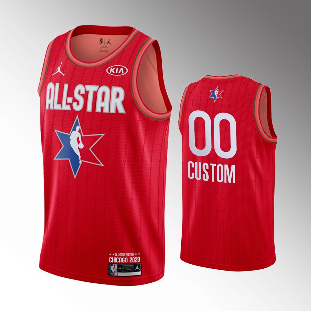 Men's 2020 NBA All-Star Game Custom Finished Jersey - Red