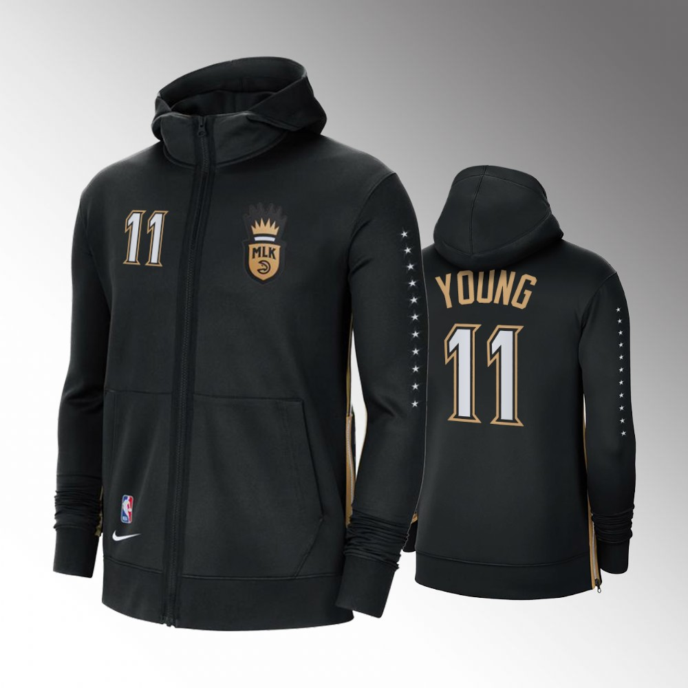 Atlanta Hawks 2021 MLK City Trae Young Black Showtime Zip Hoodie