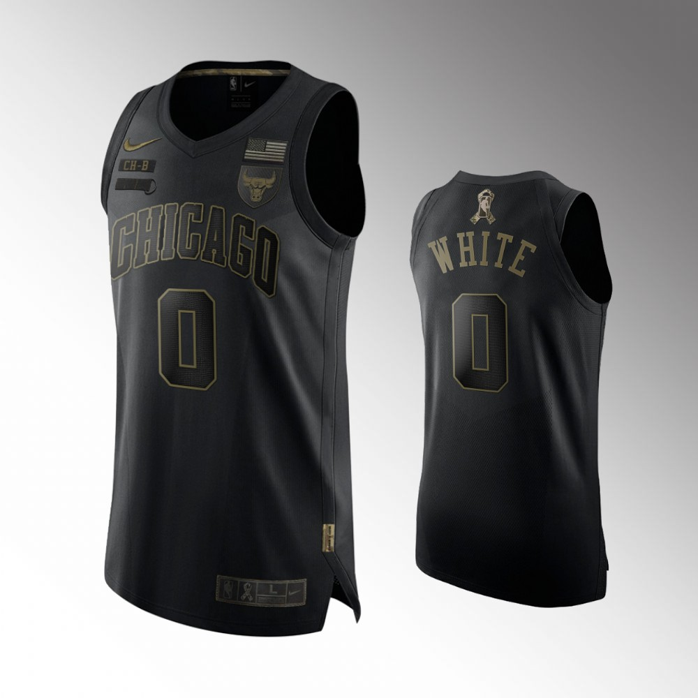 Coby White Chicago Bulls Black 2020 Veterans Day Jersey