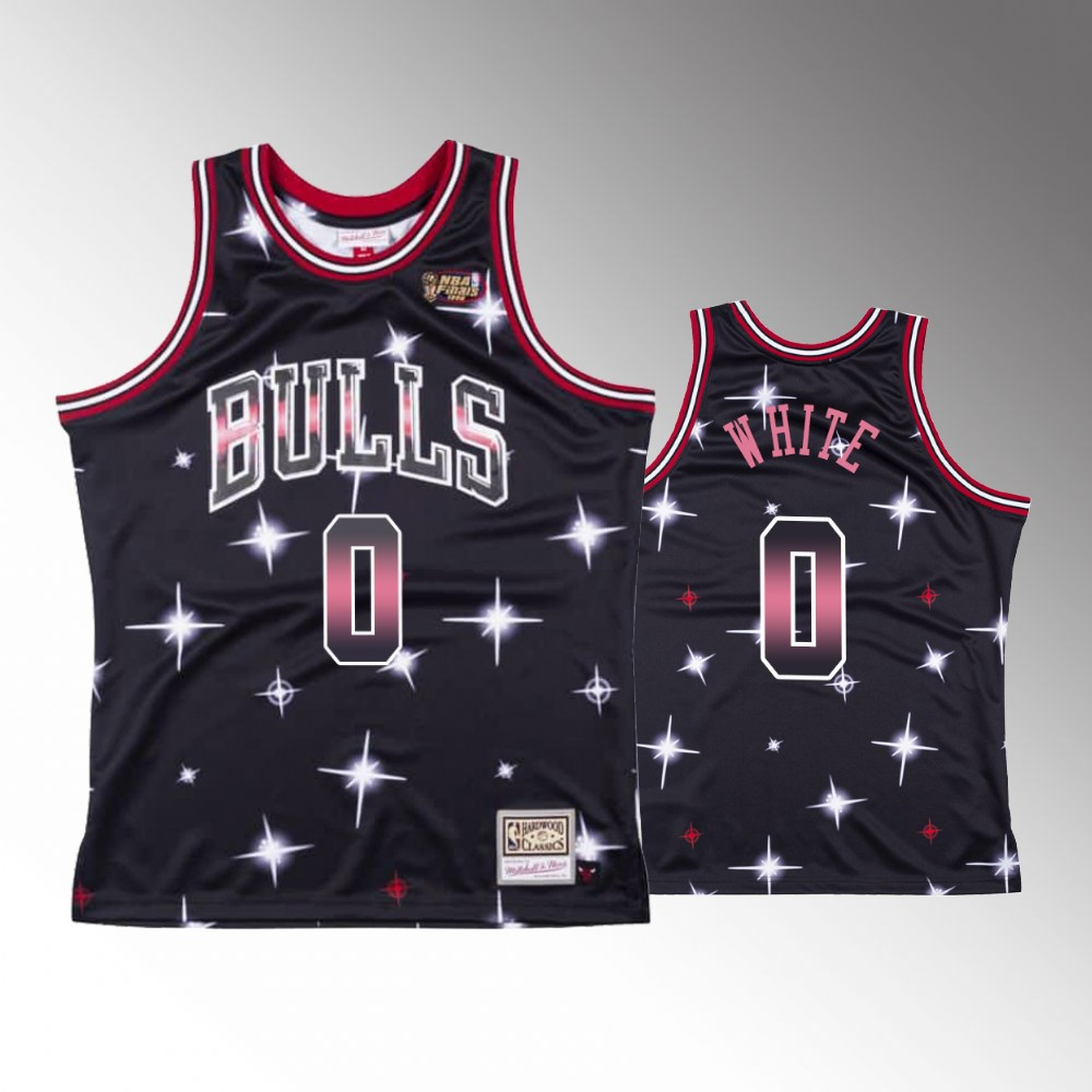 Coby White Chicago Bulls Black Airbrush Knit Jersey