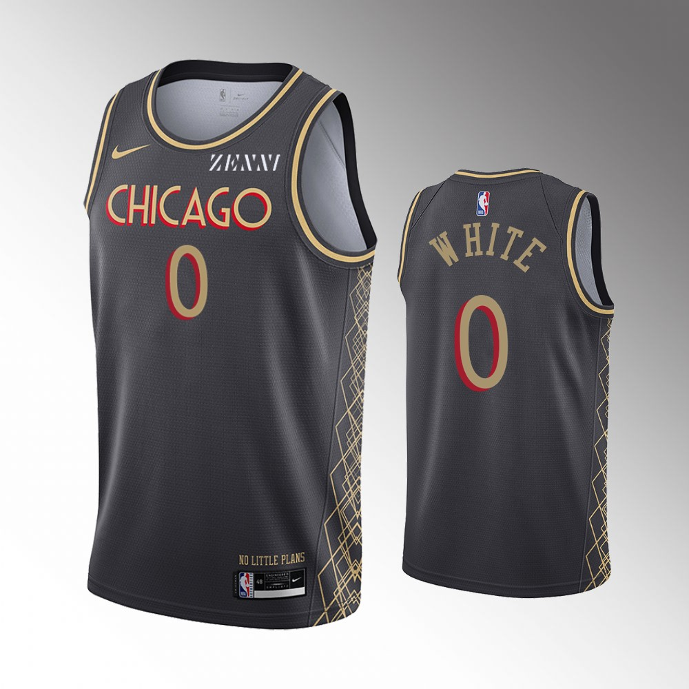 Coby White Chicago Bulls Black City Edition Jersey