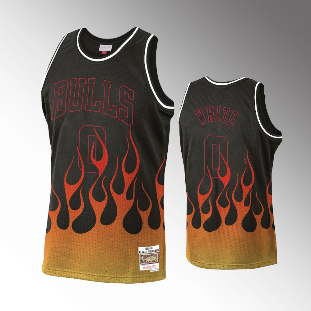 Coby White Chicago Bulls Black Flames Jersey