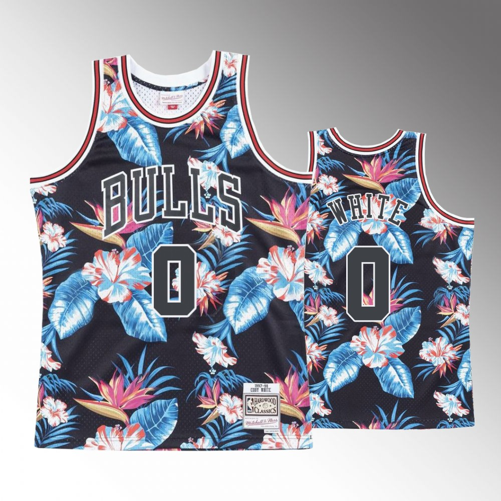Coby White Chicago Bulls Floral Fashion Jersey - Black