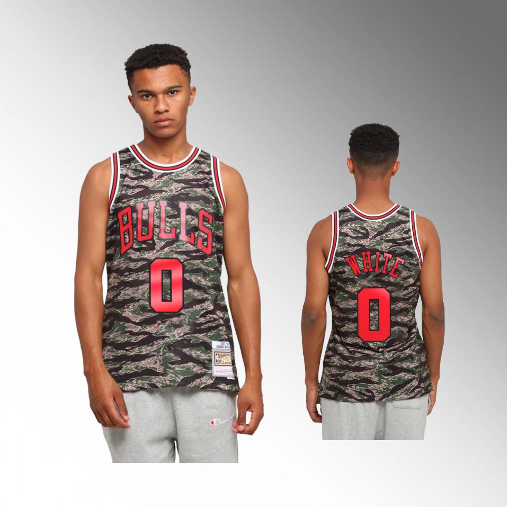 Coby White Chicago Bulls Green Tiger Camo Jersey