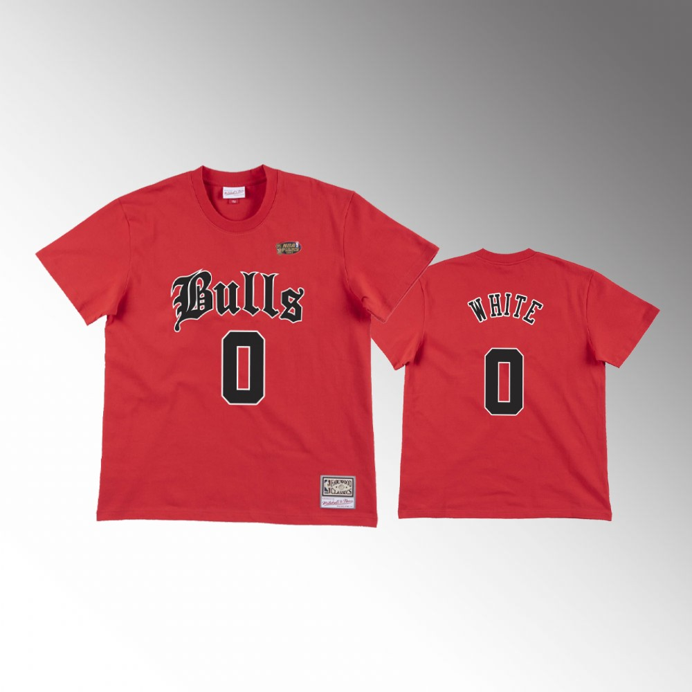 Coby White Chicago Bulls Old English Faded Red T-Shirt