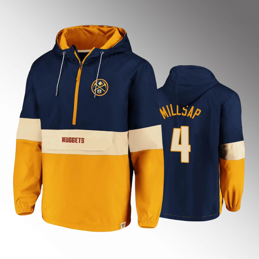 Men's Denver Nuggets Classics Lead Blocker Paul Millsap Anorak Hoodie Half-Zip Windbreaker Jacket - Navy Gold