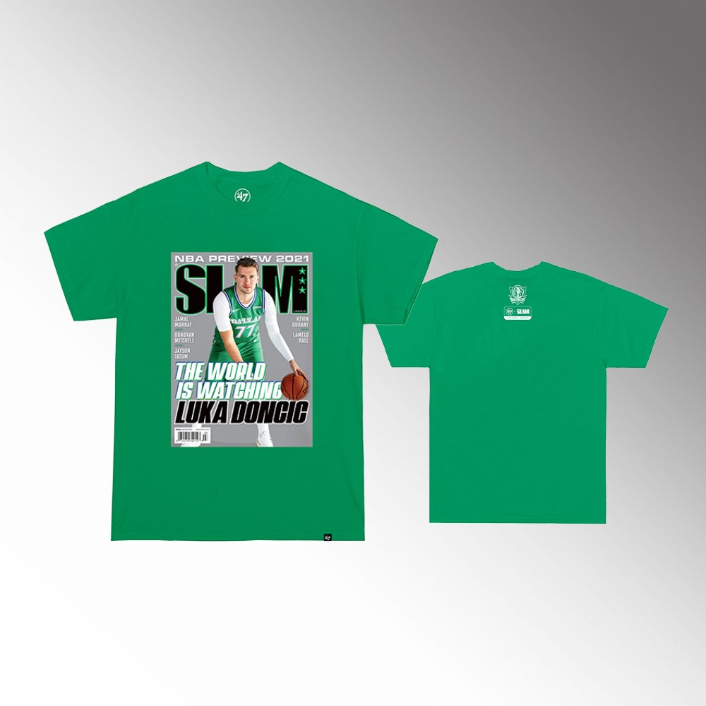 Luka Doncic Dallas Mavericks SLAM Cover Green T-Shirt