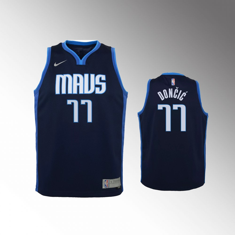 Luka Doncic Dallas Mavericks Navy Earned Edition Jersey