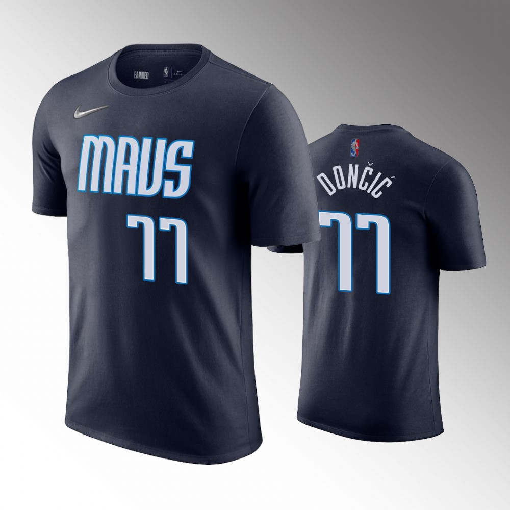 Luka Doncic Dallas Mavericks Earned Edition Navy T-shirt