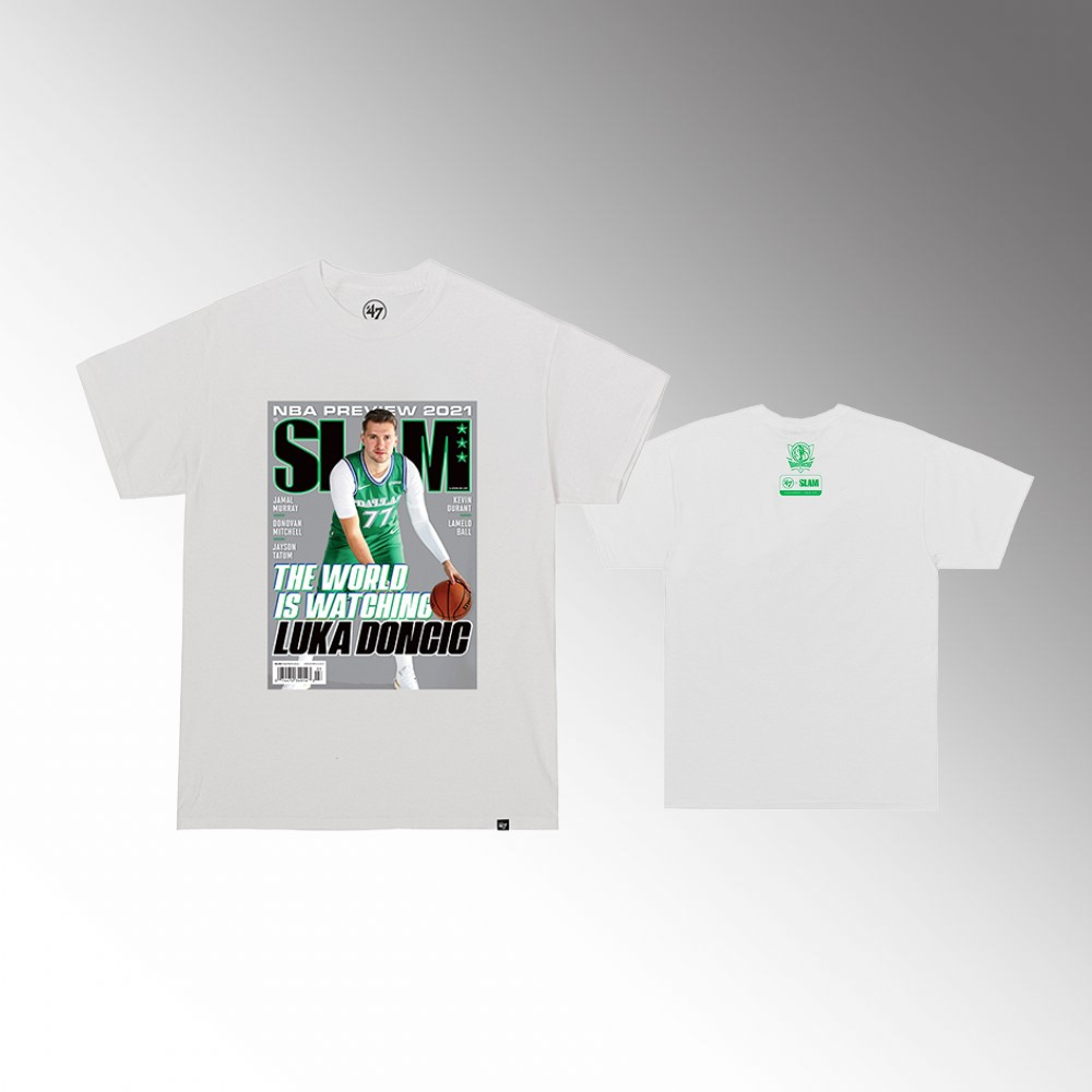 Luka Doncic Dallas Mavericks SLAM Cover White T-Shirt
