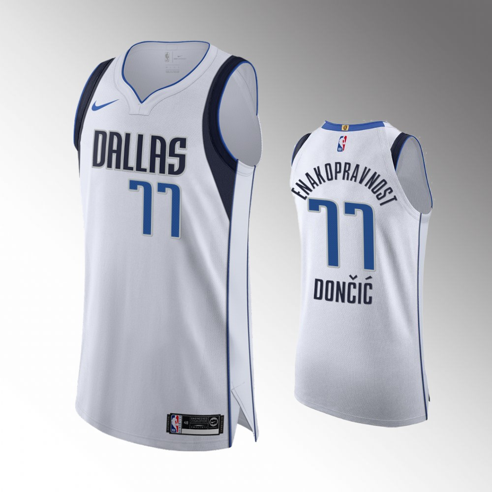 Luka Doncic Dallas Mavericks White Social Justice Authentic Jersey