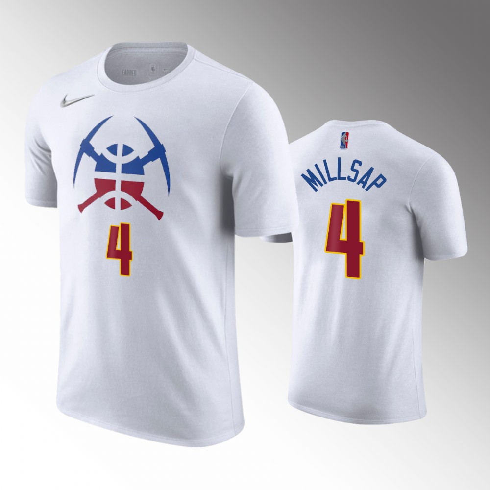 Paul Millsap Denver Nuggets Earned Edition White T-shirt