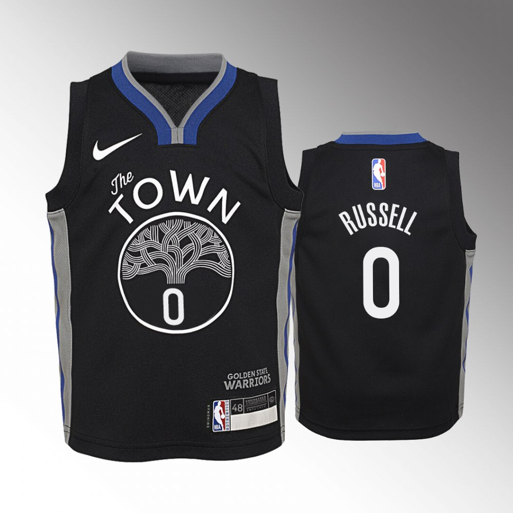Youth Golden State Warriors City #0 Black D'Angelo Russell Jersey