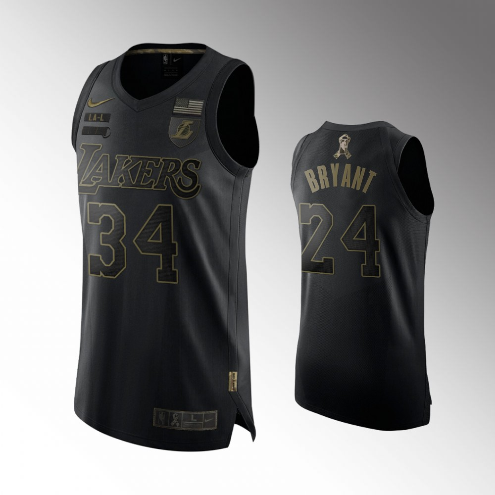 Kobe Bryant Los Angeles Lakers Black Salute To Service Jersey