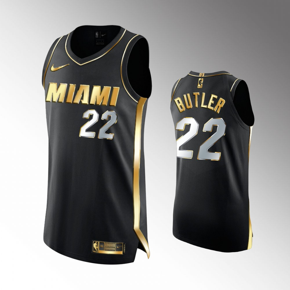 Jimmy Butler Miami Heat Black Authentic Golden Jersey