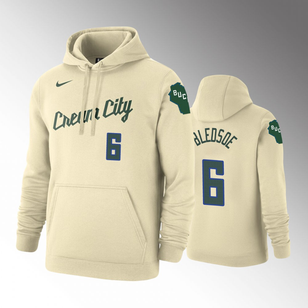 2019-20 Milwaukee Bucks Eric Bledsoe City Cream Pullover Hoodie