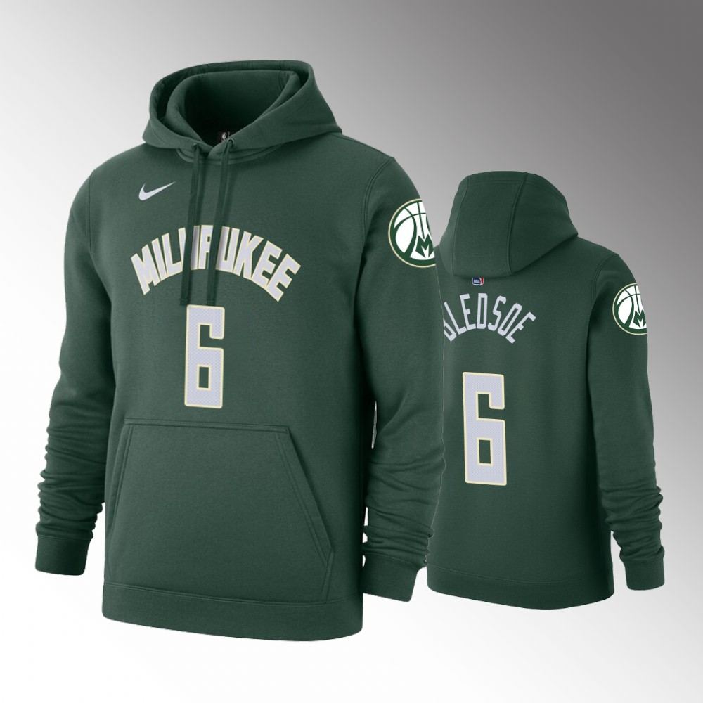 2019-20 Milwaukee Bucks Eric Bledsoe Icon Hunter Green Pullover Name & Number Hoodie