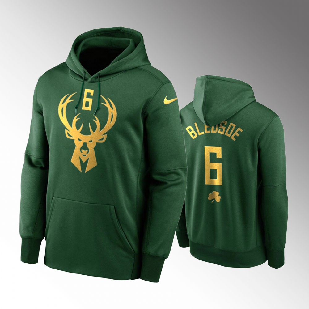 Milwaukee Bucks Eric Bledsoe Green 2020 St. Patrick's Day Golden Edition Pullover Hoodie