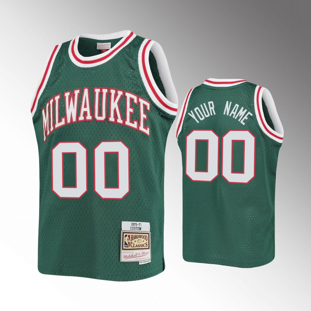 Milwaukee Bucks Green Custom Jersey - 1970-71 Hardwood Classics