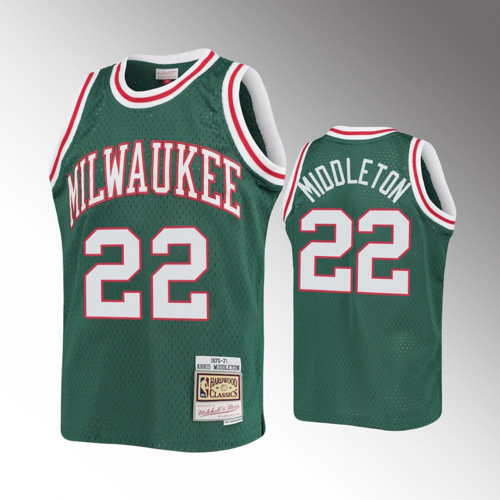 Milwaukee Bucks Green Khris Middleton Jersey - 1970-71 Hardwood Classics