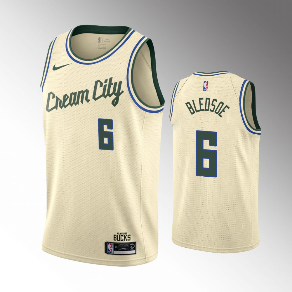 Milwaukee Bucks Cream Eric Bledsoe Jersey - City