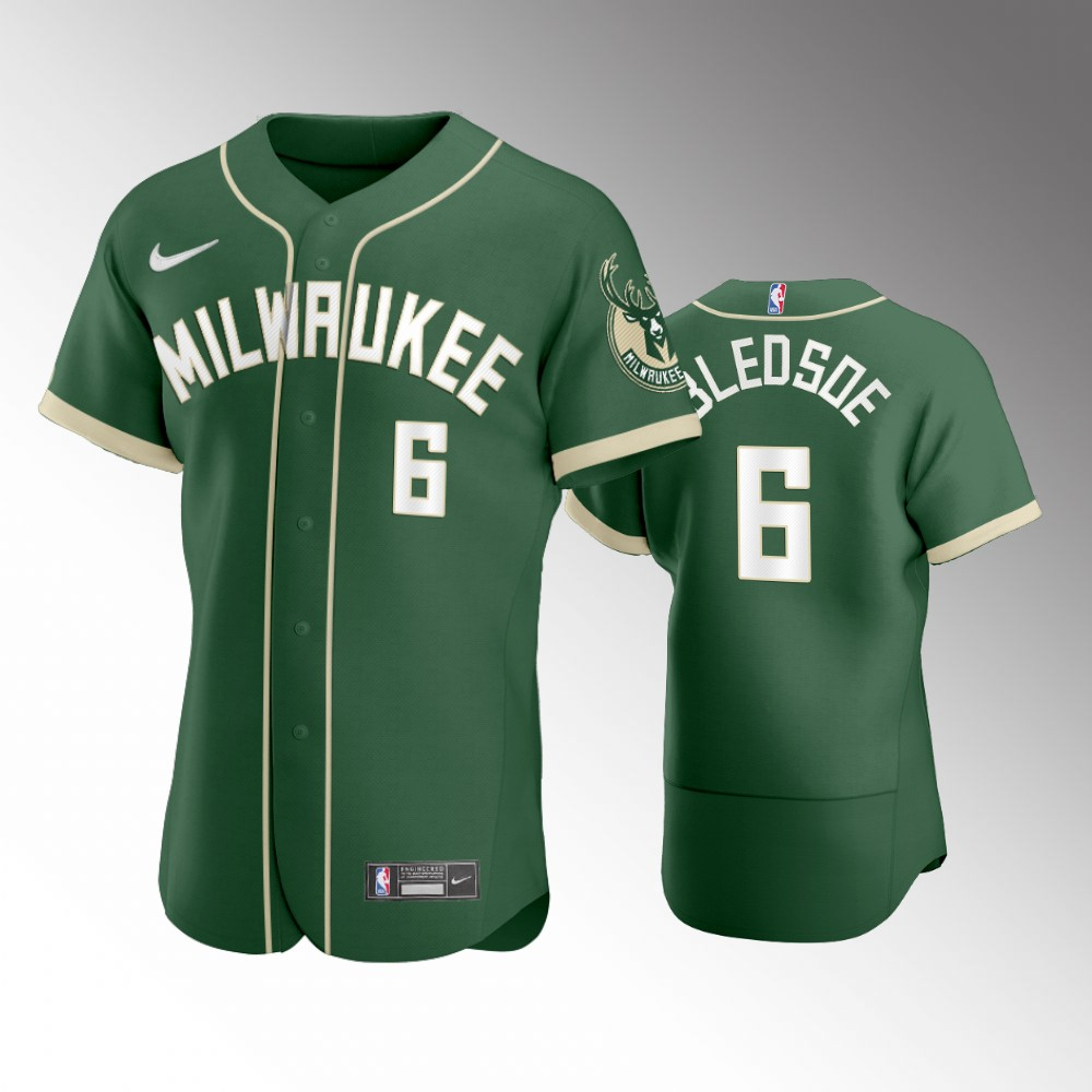 Milwaukee Bucks Green Eric Bledsoe 2020 NBA X MLB Crossover Edition Baseball Jersey