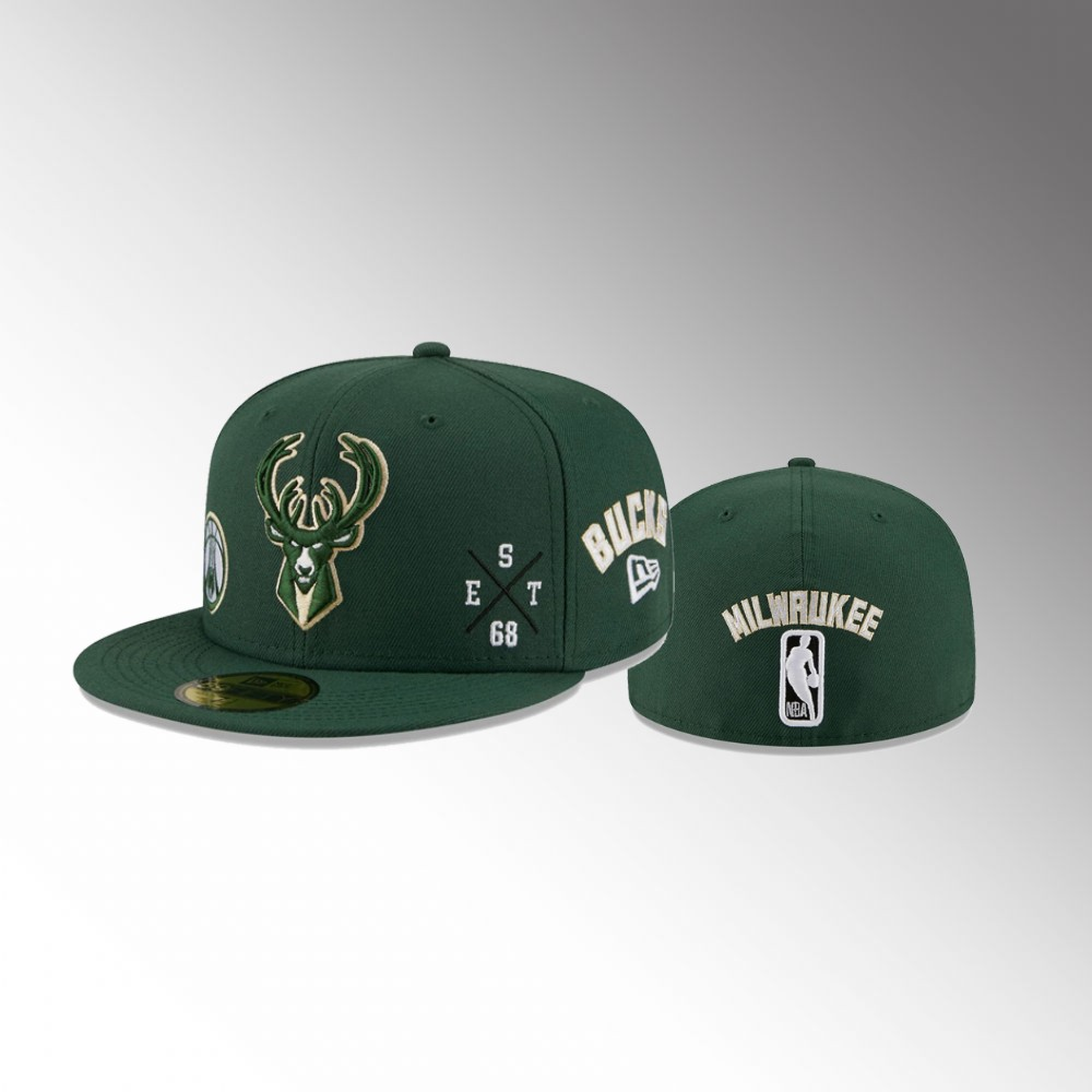 Milwaukee Bucks Hunter Green Multi Men's 59FIFTY Fitted Hat