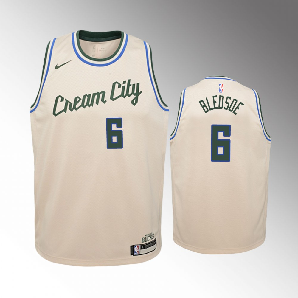 Youth Milwaukee Bucks City #6 Cream Eric Bledsoe Jersey