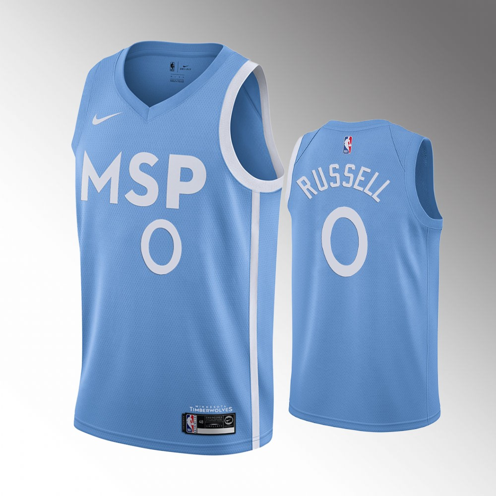 Minnesota Timberwolves Blue D'Angelo Russell Jersey - City