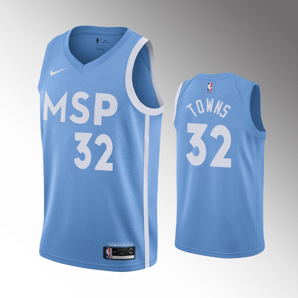 Minnesota Timberwolves Blue Karl-Anthony Towns Jersey - City