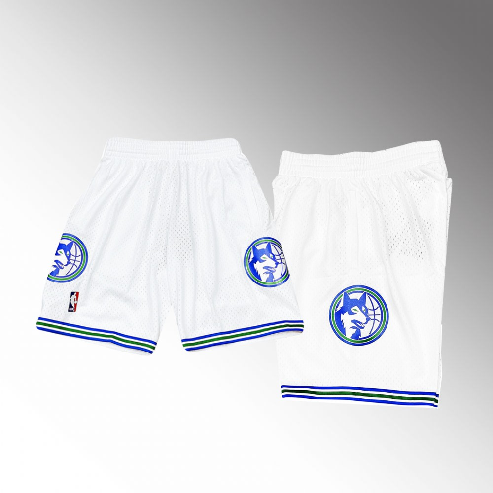 Minnesota Timberwolves White Hardwood Classics Throwback Shorts
