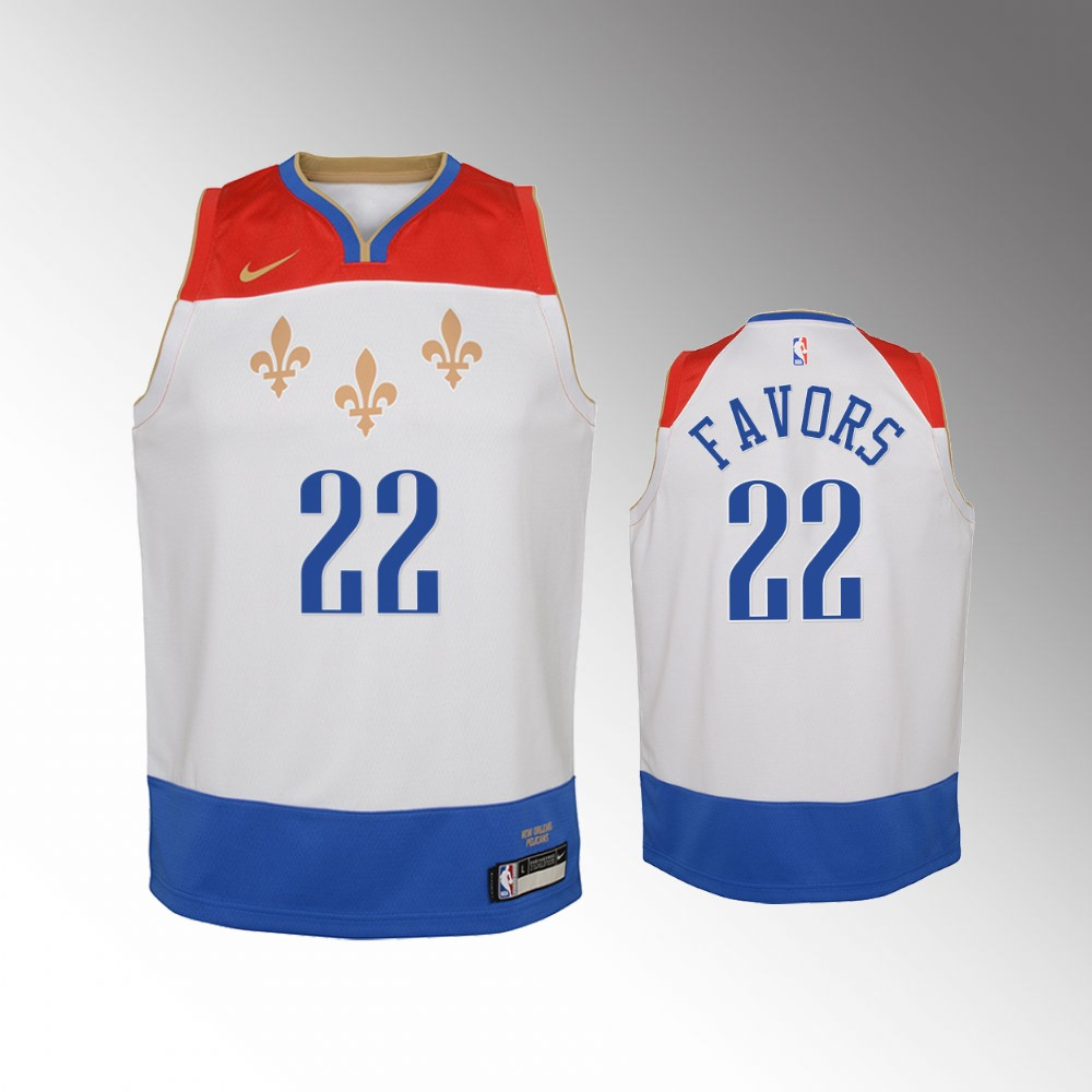 Derrick Favors New Orleans Pelicans White City Edition Jersey