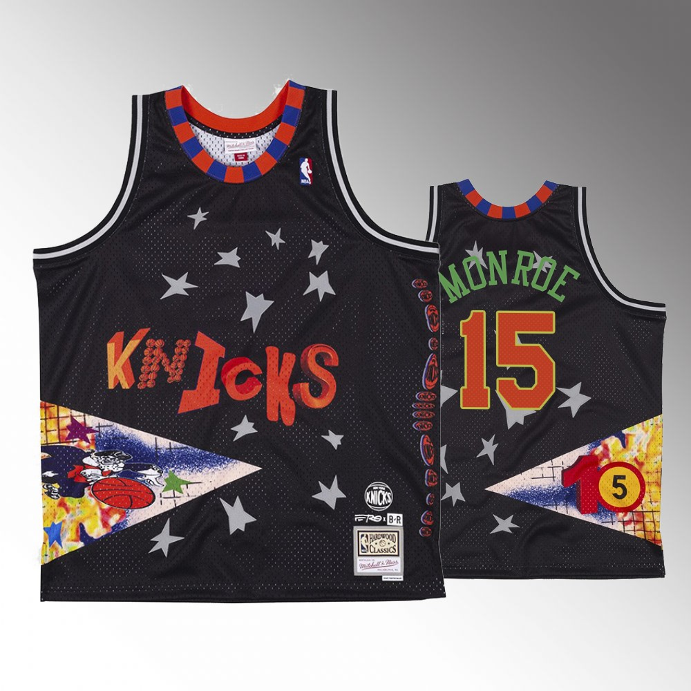 Earl Monroe New York Knicks Black BR Remix Jersey