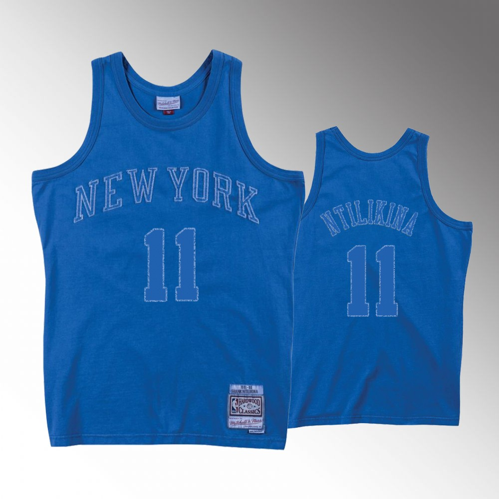 Frank Ntilikina New York Knicks Blue Washed Out Jersey