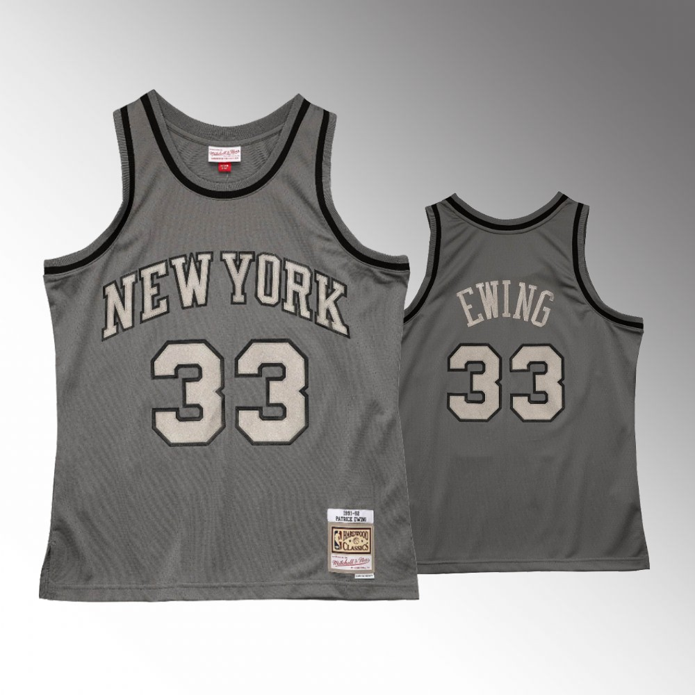 Patrick Ewing New York Knicks Charcoal Metal Works Jersey