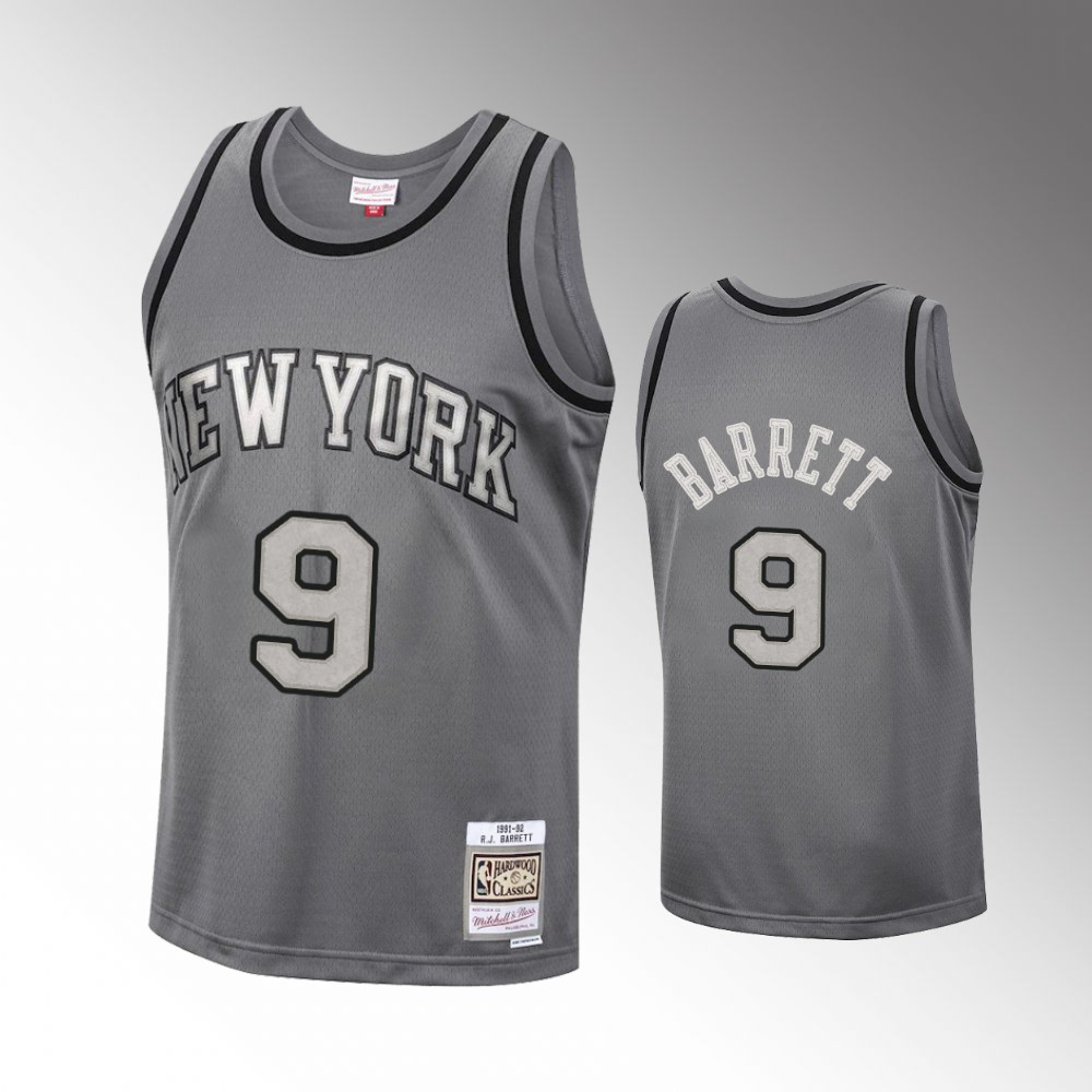 R.J. Barrett New York Knicks Charcoal Metal Works Jersey