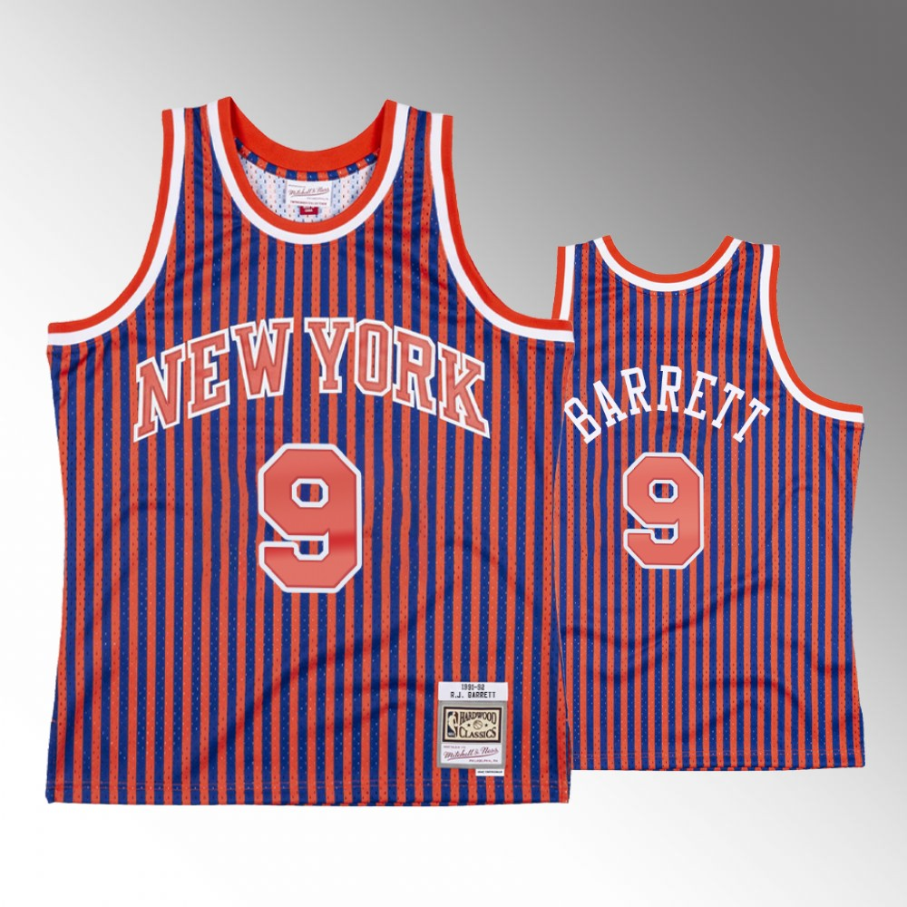 R.J. Barrett New York Knicks Red Striped Jersey
