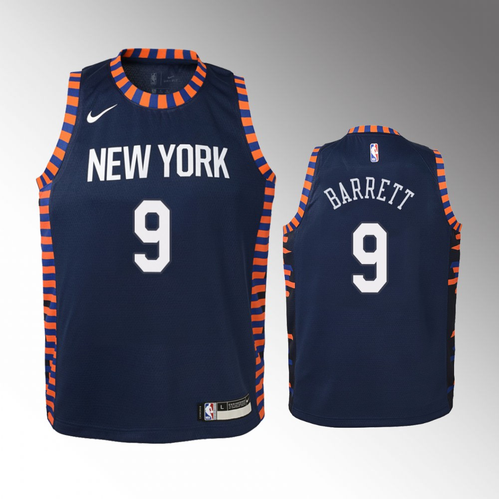 Youth New York Knicks City #9 Navy R.J. Barrett Jersey