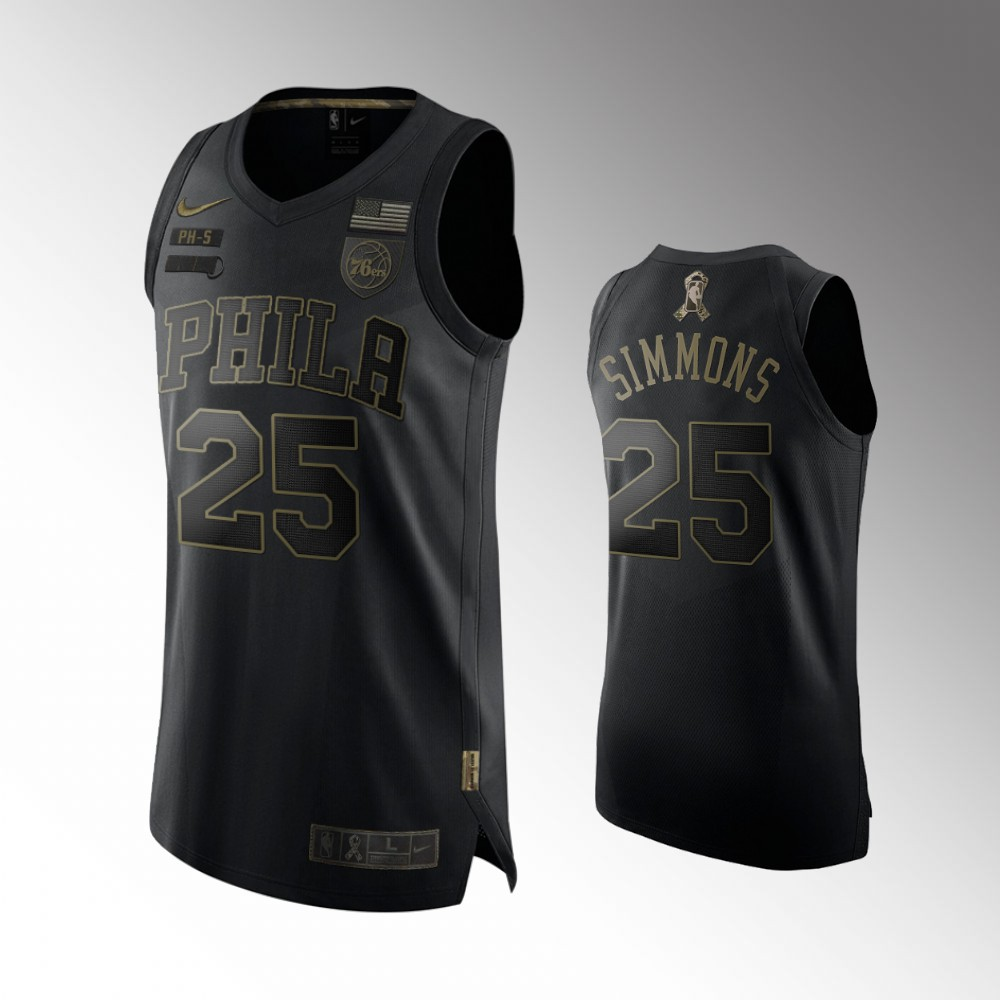Ben Simmons Philadelphia 76ers Black 2020 Salute To Service Jersey