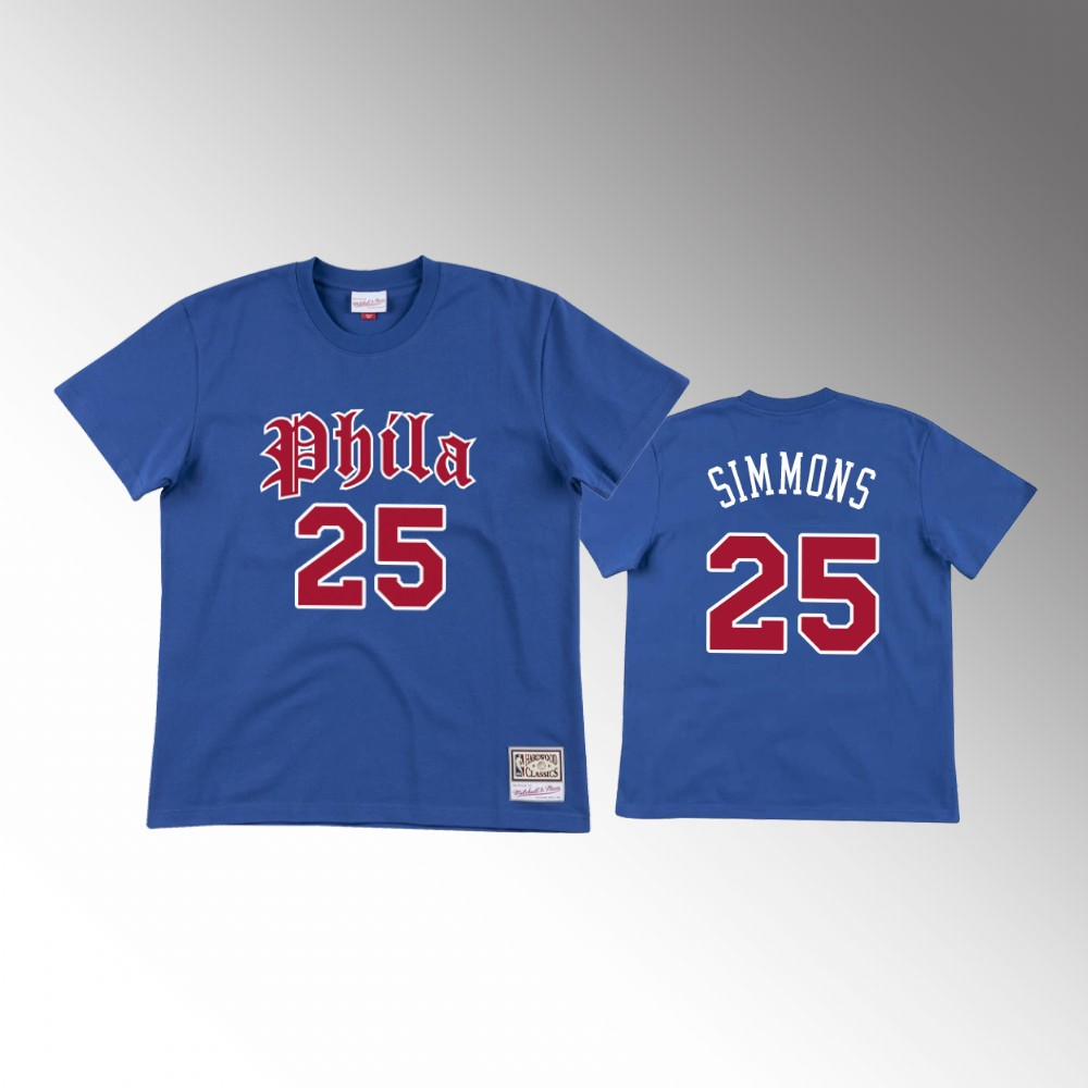 Ben Simmons Philadelphia 76ers Old English Faded Blue T-Shirt