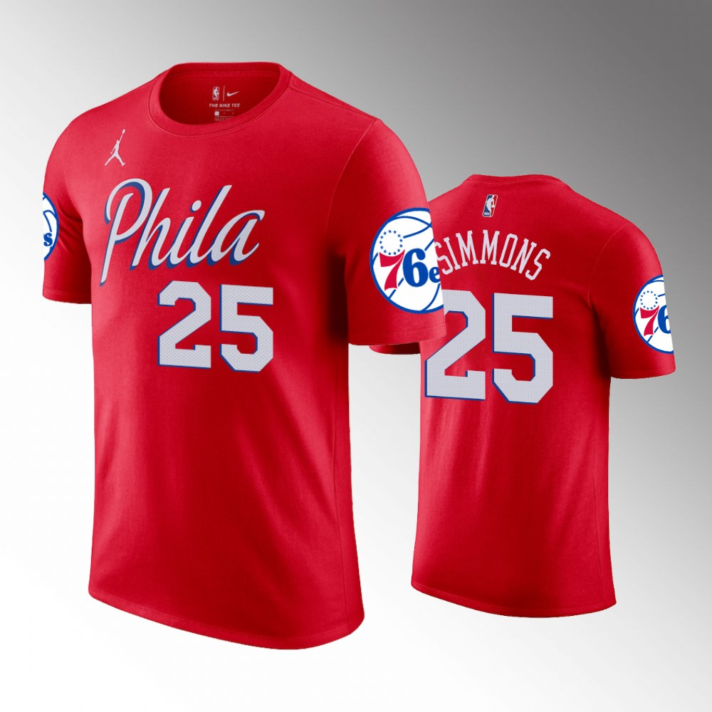 Ben Simmons Philadelphia 76ers Statement Red T-Shirt