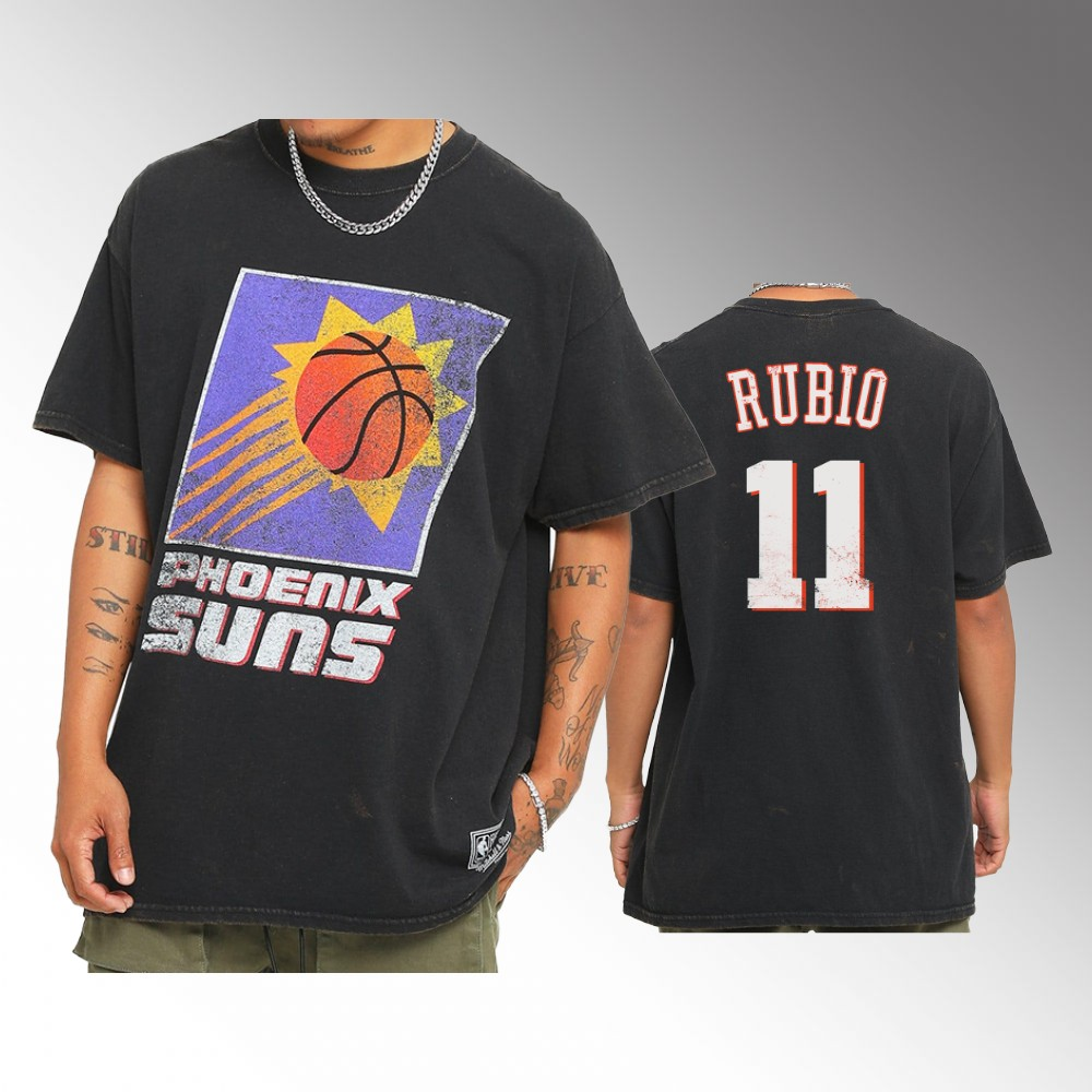 Ricky Rubio Phoenix Suns Oversized Logo Throwback Edit Black Tee