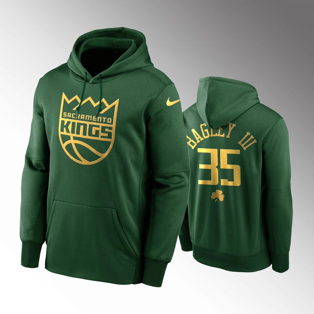 Sacramento Kings Marvin Bagley III Green 2020 St. Patrick's Day Golden Edition Pullover Hoodie
