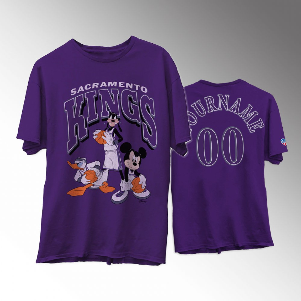 Custom Sacramento Kings Disney X Junk Food NBA Collection Purple T-Shirt