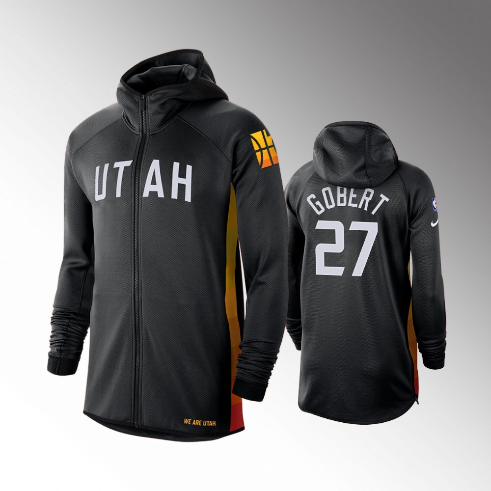 Utah Jazz Earned Edition Rudy Gobert Black Showtime Full-Zip Hoodie