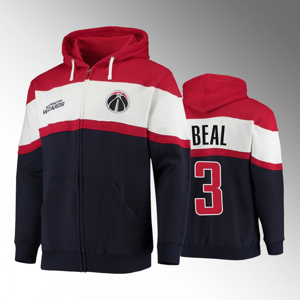 Washington Wizards Colorblock Wordmark Bradley Beal Navy Full-Zip Hoodie