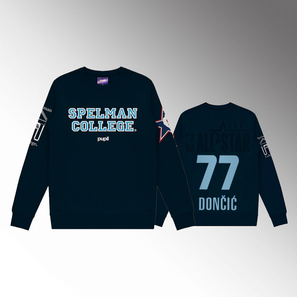 Dallas Mavericks #77 Luka Doncic Men's NBA All-Star Game x HBCU Collection Pullover Sweater Gray
