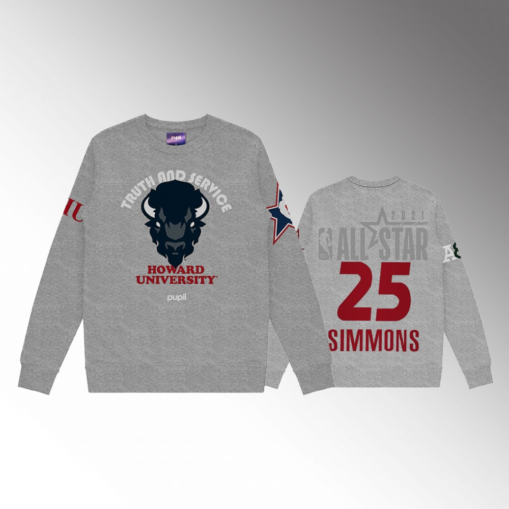 Philadelphia 76ers #25 Ben Simmons Men's NBA All-Star Game x HBCU Collection Pullover Sweater Gray