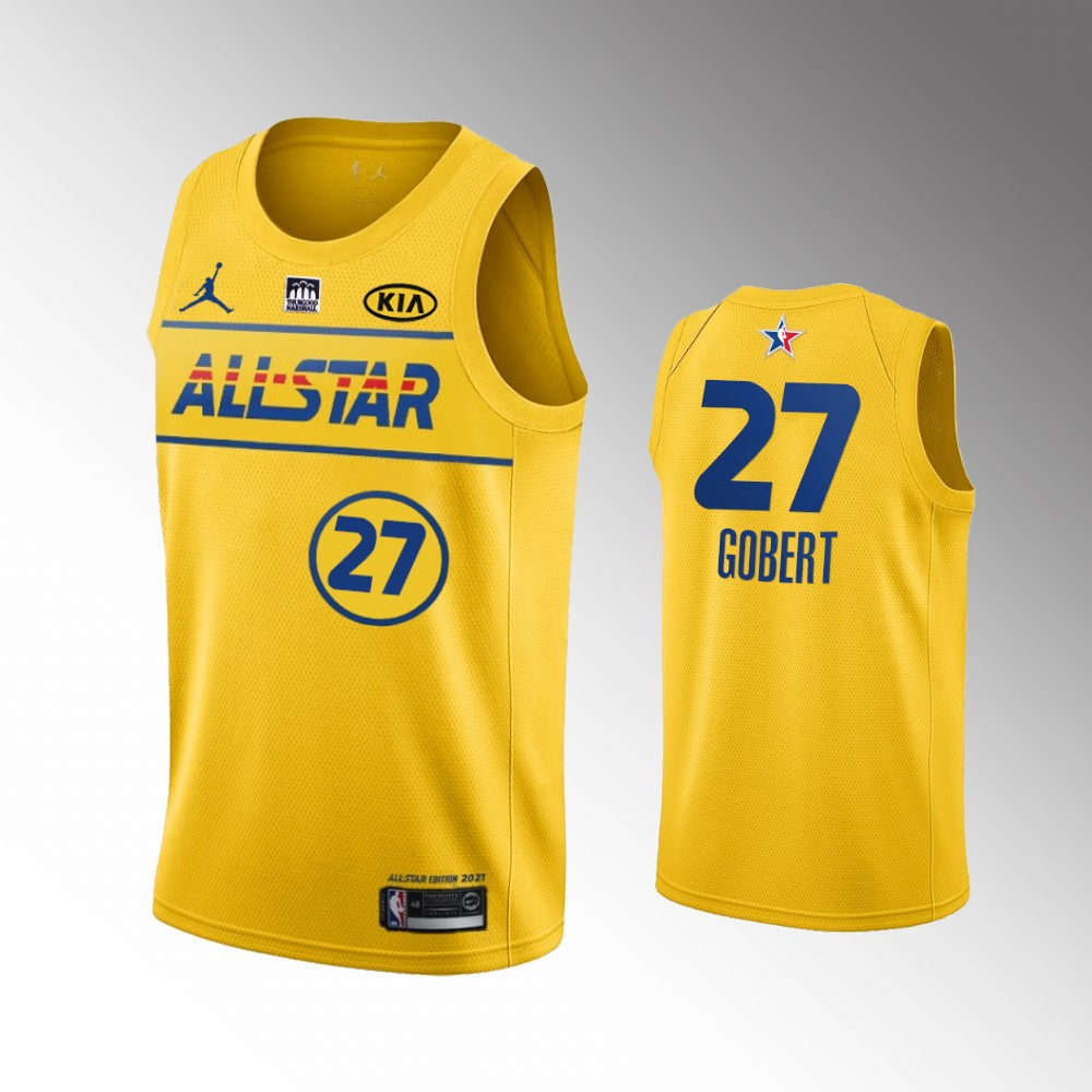 Utah Jazz Rudy Gobert 2021 NBA All-Star Game x HBCU Collection Jersey Western Conference Gold
